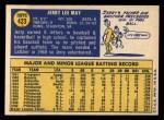 1970 Topps #423  Jerry May  Back Thumbnail