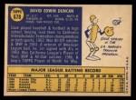 1970 Topps #678  Dave Duncan  Back Thumbnail