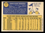 1970 Topps #711  Ed Brinkman  Back Thumbnail