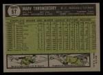 1961 Topps #57  Marv Throneberry  Back Thumbnail