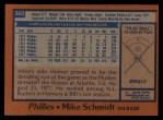 1978 Topps #360  Mike Schmidt  Back Thumbnail