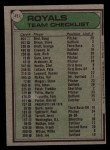 1979 Topps #451   -  Whitey Herzog  Royals Team Checklist Back Thumbnail