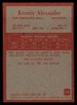 1965 Philadelphia #170  Kermit Alexander    Back Thumbnail