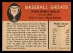 1961 Fleer #111  Bump Hadley  Back Thumbnail