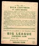 1933 Goudey #101  Richard Coffman  Back Thumbnail