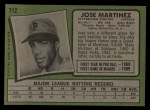 1971 Topps #712  Jose Martinez  Back Thumbnail