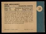 1961 Fleer #31  Tom Meschery  Back Thumbnail