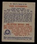 1949 Bowman #196  Fred Hutchinson  Back Thumbnail