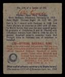 1949 Bowman #114  Allie Reynolds  Back Thumbnail