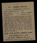 1948 Bowman #10  Buddy Rosar  Back Thumbnail