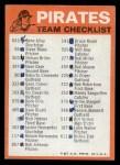 1973 Topps Blue Checklist   Pirates Back Thumbnail