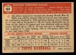 1952 Topps #165 CRM Eddie Kazak  Back Thumbnail