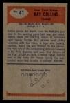 1955 Bowman #41  Ray Collins  Back Thumbnail