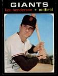 1971 Topps #155  Ken Henderson  Front Thumbnail