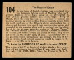 1938 Gum Inc. Horrors of War #104   The Music of Death Back Thumbnail