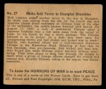 1938 Gum Inc. Horrors of War #27   Mobs Add Terror to Shanghai Shambles Back Thumbnail