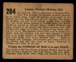 1938 Gum Inc. Horrors of War #204   Emperor Hirohito's Birthday Raid Back Thumbnail