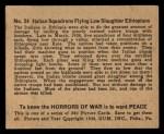 1938 Gum Inc. Horrors of War #24   Italian Squadrons Flying Low Slaughter Ethiopians Back Thumbnail