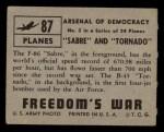 1950 Topps Freedoms War #87   -      Sabre and Tornado   Back Thumbnail