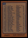 1978 Topps #214   Angels Team Checklist Back Thumbnail