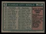 1975 Topps #72   -  Jack McKeon Royals Team Checklist Back Thumbnail