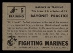 1953 Topps Fighting Marines #5   Bayonet Practice Back Thumbnail