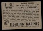 1953 Topps Fighting Marines #54   Flying Leathernecks Back Thumbnail