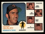 1973 Topps #49 BRN  -  Frank Quilici / Vern Morgan / Bob Rodgers / Ralph Rowe / Al Worthington Twins Leaders Front Thumbnail