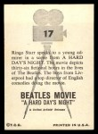 1964 Topps Beatles Movie #17   Ringo Speaks To Young Admirer Back Thumbnail