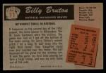 1955 Bowman #11  Billy Bruton  Back Thumbnail