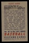 1951 Bowman #87  Floyd Baker  Back Thumbnail