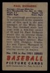 1951 Bowman #195  Paul Richards  Back Thumbnail
