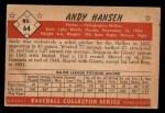 1953 Bowman B&W #64  Andy Hansen  Back Thumbnail