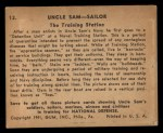 1941 Gum Inc Uncle Sam #13   The Training Station Back Thumbnail
