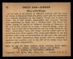1941 Gum Inc Uncle Sam #72   Men With Wings Back Thumbnail
