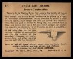 1941 Gum Inc Uncle Sam #87   Trench Construction Back Thumbnail