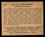 1941 Gum Inc Uncle Sam #104   Enlisting Home Guard Back Thumbnail