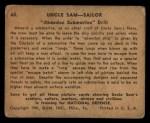 1941 Gum Inc Uncle Sam #60   Abandon Submarine Drill Back Thumbnail