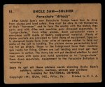 1941 Gum Inc Uncle Sam #51   Parachute Attack Back Thumbnail