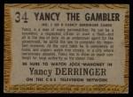 1958 Topps TV Westerns #34   Yancy the Gambler  Back Thumbnail