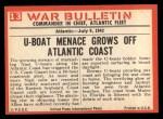 1965 Philadelphia War Bulletin #13   The Enemy Below Back Thumbnail