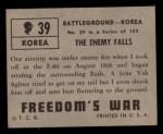 1950 Topps Freedoms War #39   The Enemy Falls   Back Thumbnail