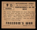 1950 Topps Freedoms War #15   Reinforcements on the Move   Back Thumbnail