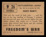 1950 Topps Freedoms War #26   Sights Ready   Back Thumbnail