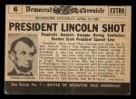 1954 Topps Scoop #6   Lincoln Shot Back Thumbnail