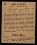 1940 Play Ball #30  Moe Berg  Back Thumbnail