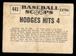 1961 Nu-Card Scoops #441   -   Gil Hodges  Hodges Hits 4 Home Runs in Nite Game Back Thumbnail