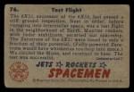 1951 Bowman Jets Rockets and Spacemen #76   Test Flight Back Thumbnail
