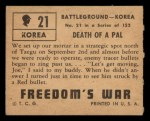 1950 Topps Freedoms War #21   Death of Pal   Back Thumbnail