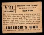 1950 Topps Freedoms War #111   Team Work  Back Thumbnail